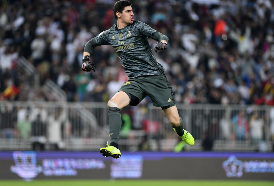 Soccer Football - Spanish Super Cup Final - Real Madrid v Atletico Madrid - King Abdullah Sports City, Jeddah, Saudi Arabia - January 12, 2020   Real Madrid's Thibaut Courtois celebrates during the penalty shootout    REUTERS/Waleed Ali
