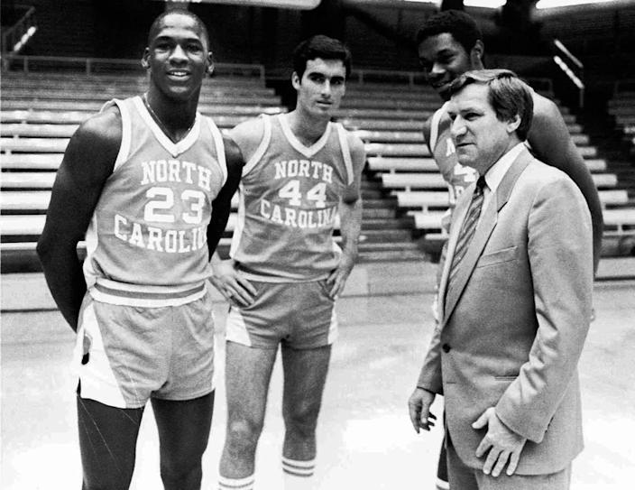 A 1982 photo of Michael Jordan, far left, Matt Doherty (44), Sam Perkins and coach Dean Smith, far right, of the University of North Carolina. The three were starters on the 1982 team that won Smith his first national championship.