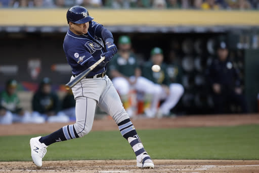 Tampa Bay Rays' Avisail Garcia hits a two-run home run against the Oakland Athletics during the second inning of an American League wild-card baseball game in Oakland, Calif., Wednesday, Oct. 2, 2019. (AP Photo/Ben Margot)