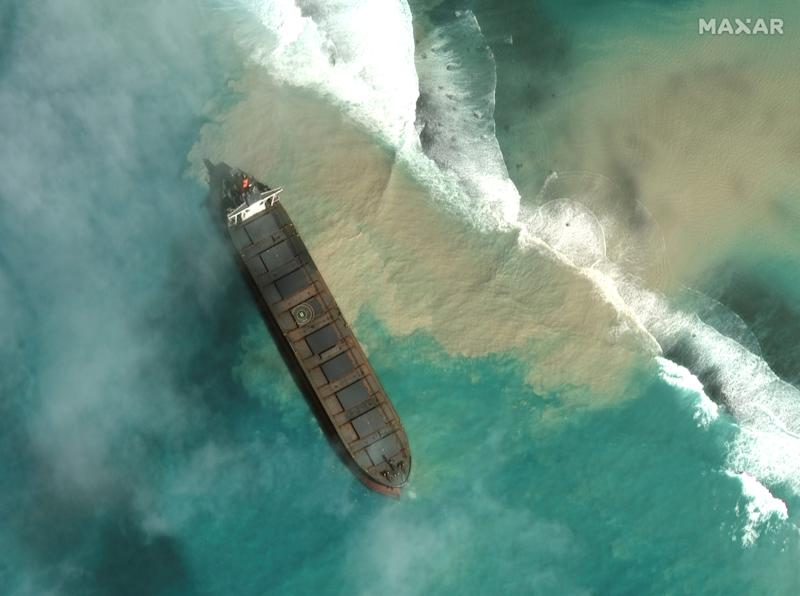 A satellite image shows MV Wakashio, a bulk carrier ship that ran aground off the southeast coast of Mauritius, August 1, 2020. Picture taken August 1, 2020. Satellite image ?2020 Maxar Technologies/via REUTERS. ATTENTION EDITORS - THIS IMAGE HAS BEEN SUPPLIED BY A THIRD PARTY. MANDATORY CREDIT. NO RESALES. NO ARCHIVES. MUST NOT OBSCURE WATERMARK