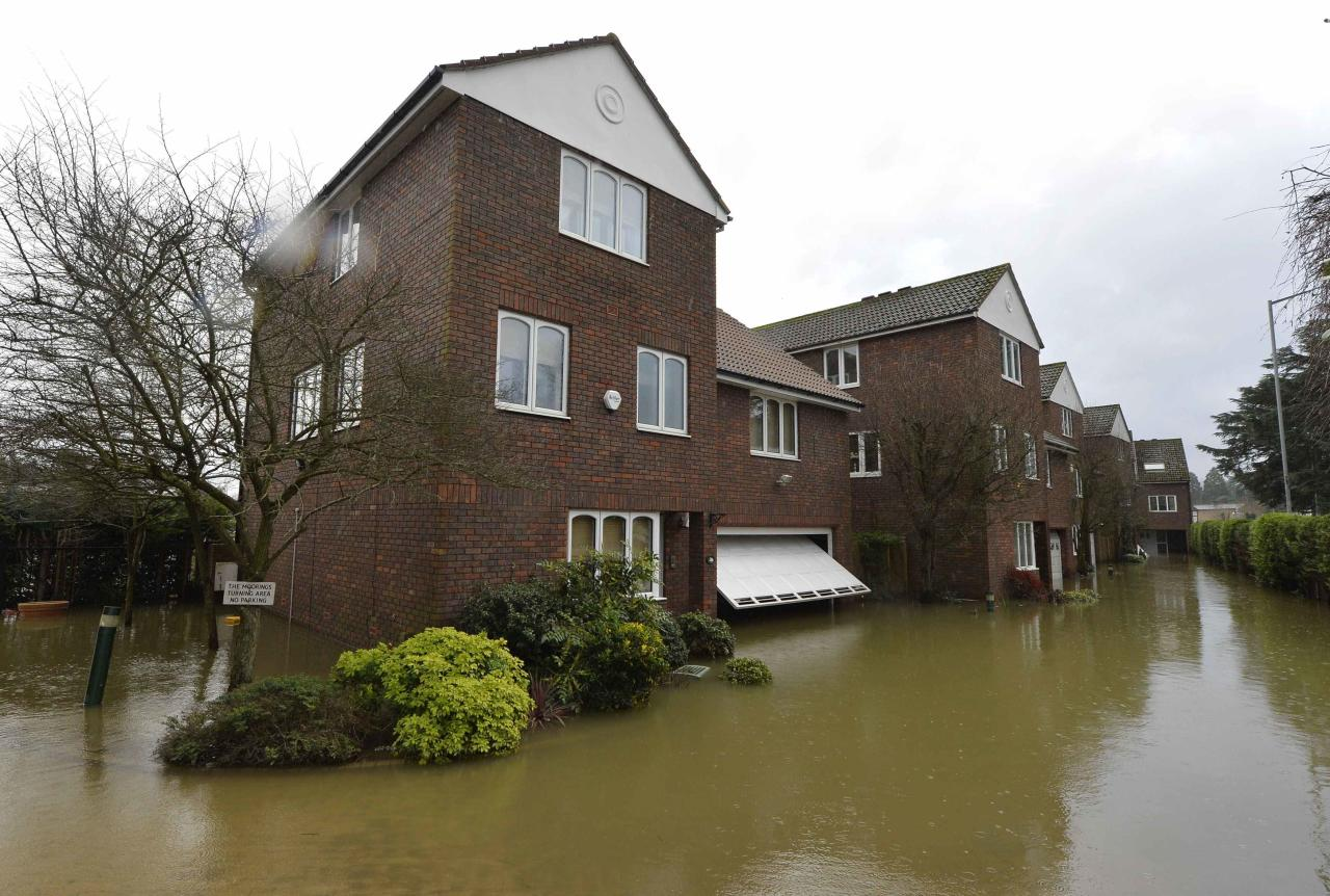 Riverside properties are seen partially submerged in floodwaters from the River Thames, at Old Windsor in southern England, January 13, 2014. Britain's insurers are preparing to pay out hundreds of millions of pounds in claims following a run of winter storms that have flooded homes and disrupted travel, though the absence of major damage should limit the impact on their 2013 results. More than 1,700 homes and businesses have been affected by the floods in England since late December, which also killed seven people, according to news reports. REUTERS/Toby Melville (BRITAIN)