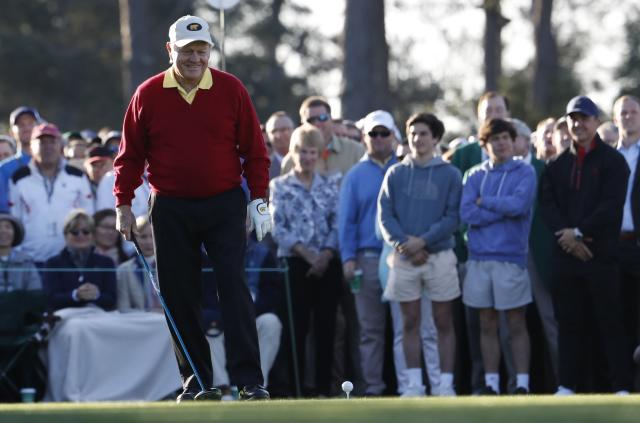 Honorary starter Jack Nicklaus of the U.S. prepares to tee off during the ceremonial start before first round play in the 2018 Masters golf tournament at the Augusta National Golf Club in Augusta, Georgia, U.S. April 5, 2018. REUTERS/Jonathan Ernst