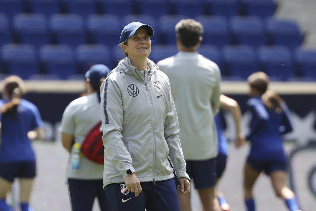 FILE - In this May 25, 2019, file photo, United States women's national soccer team head coach Jill Ellis smiles during a soccer workout at Red Bull Arena in Harrison, N.J. The two-time FIFA women's coach of the year will lead the World Cup champions women's national team against South Korea in her final game before retiring on Sunday in Chicago. (AP Photo/Steve Luciano, File)