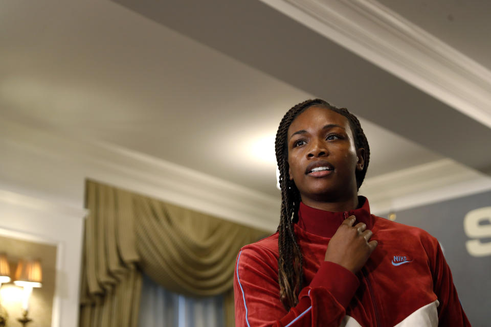 NEW YORK, NEW YORK - JANUARY 07: Claressa Shields before the start of a press conference with Ivana Habazin at Hotel Plaza Athenee prior to their January 11th, 2020 WBO 154-pound title fight at the Ocean Casino Resort in Atlantic City, NJ on January 07, 2020 in New York City. (Photo by Michael Owens/Getty Images)