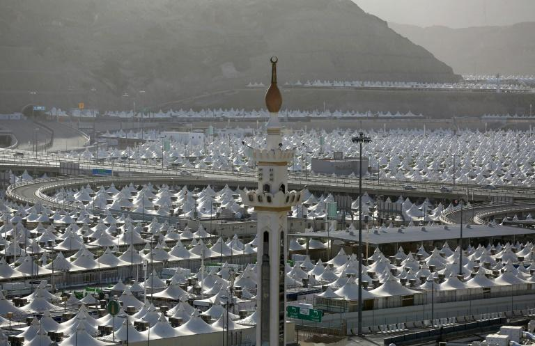 Mecca would usually be teeming with pilgrims ahead of the hajj, but the tent cities that usually house them are deserted (AFP Photo/STR)