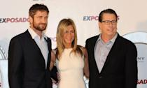 """<p>After meeting on the set of <em>Bounty Hunter</em>, the <a href=""""https://www.marieclaire.co.uk/news/celebrity-news/jennifer-aniston-gerard-butler-is-lovely-191779"""" rel=""""nofollow noopener"""" target=""""_blank"""" data-ylk=""""slk:rumored"""" class=""""link rapid-noclick-resp"""">rumored </a>coupling of Aniston and Gerard Butler was a bigger story than the actual film on the night of its 2010 debut. The rumors were later confirmed, but the relationship was not meant to be.</p>"""