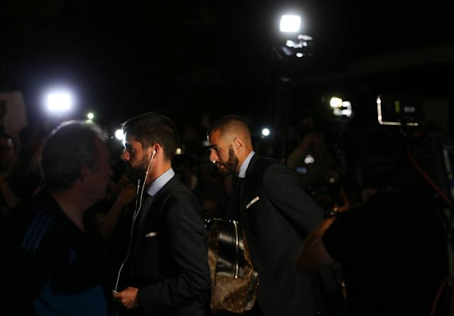 Soccer Football - Champions League - Champions League - Real Madrid Arrive Ahead Of The Final - Kiev, Ukraine - May 24, 2018 Real Madrid's Karim Benzema and Isco arrive ahead of the final REUTERS/Viacheslav Ratynskyi
