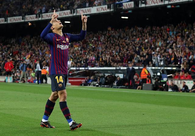 Soccer Football - La Liga Santander - FC Barcelona vs Real Sociedad - Camp Nou, Barcelona, Spain - May 20, 2018 Barcelona's Philippe Coutinho celebrates scoring their first goal REUTERS/Albert Gea