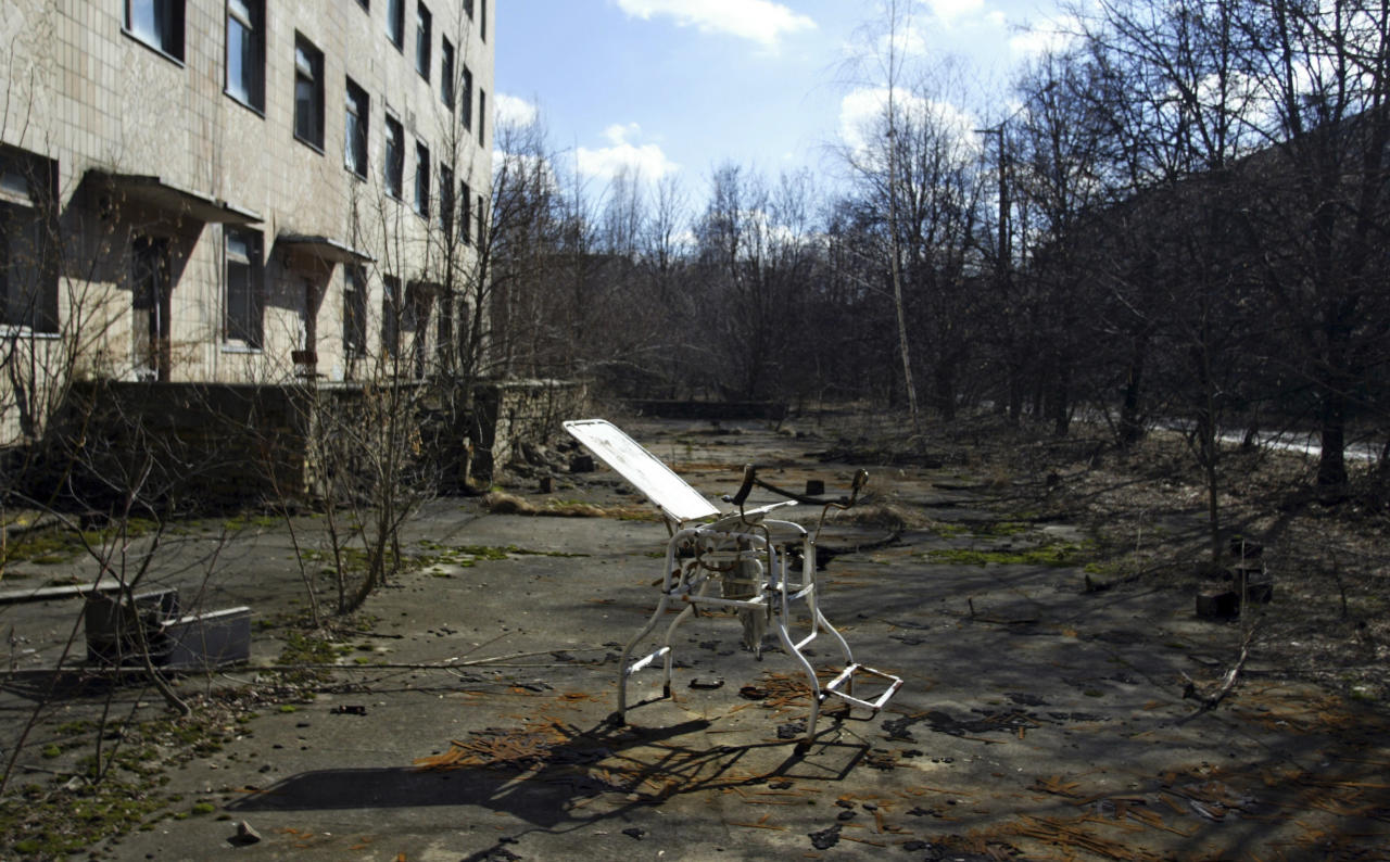 In this photo taken April 2, 2006, an obstetric chair is seen in front of a hospital in the deserted town of Pripyat, some 3 kilometers (1.86 miles) from the Chernobyl nuclear plant.