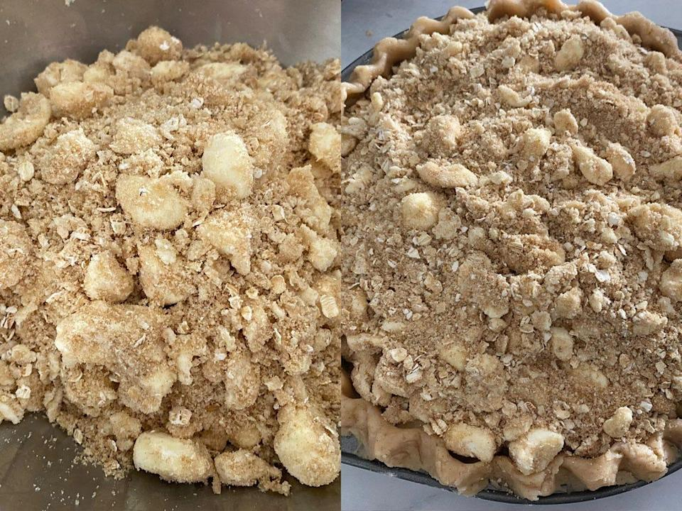 Crumbly topping for an applie pie.