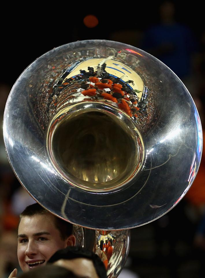 AUSTIN, TX - MARCH 22:  A band member of the Illinois Fighting Illini performs before the start of the game against the Colorado Buffaloes during the second round of the 2013 NCAA Men's Basketball Tournament at The Frank Erwin Center on March 22, 2013 in Austin, Texas.  (Photo by Ronald Martinez/Getty Images)