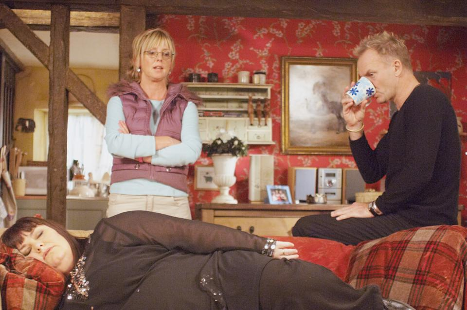 Dawn French in a 'Vicar of Dibley' Comic Relief special alongside the late Emma Chambers and guest star Sting. (Photo by Comic Relief/Getty images)