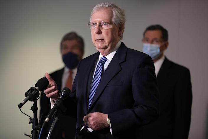 U.S. Senate Majority Leader Mitch McConnell (R-KY) talks to reporters. (Photo by Chip Somodevilla/Getty Images)