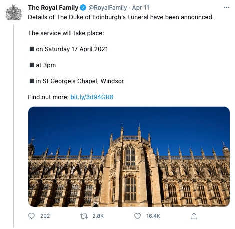 A tweet by @RoyalFamily containing details of Prince Philip's funeral.