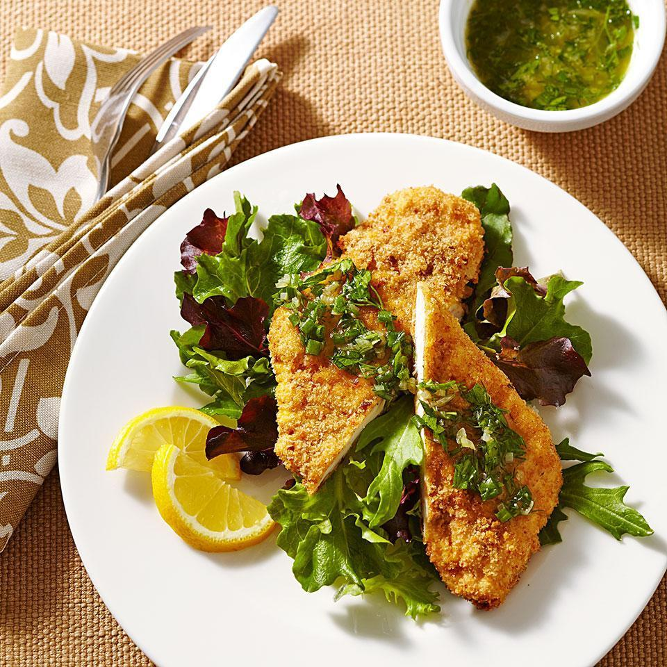 "<p>This healthy recipe for crispy chicken schnitzel involves coating the chicken breasts with fresh whole-wheat breadcrumbs and oven ""frying"" using a mist of olive oil cooking spray instead of frying in lots of oil. Serve on a bed of mixed greens or with mashed potatoes. <a href=""http://www.eatingwell.com/recipe/252630/crispy-chicken-schnitzel-with-herb-brown-butter/"" rel=""nofollow noopener"" target=""_blank"" data-ylk=""slk:View recipe"" class=""link rapid-noclick-resp""> View recipe </a></p>"