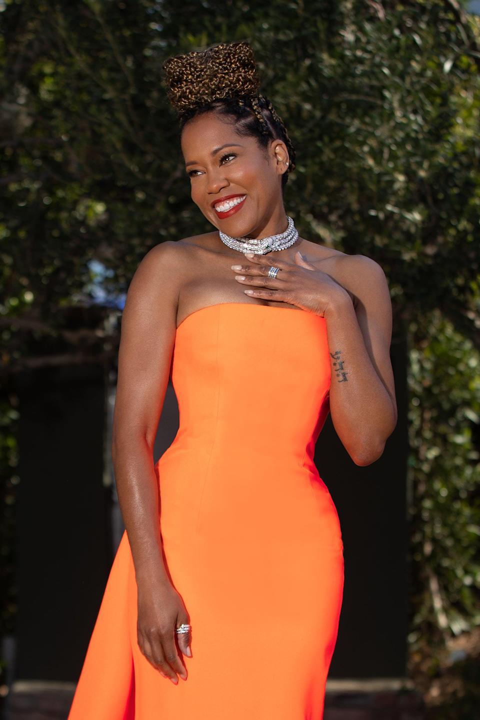 It's Time We Talked About Regina King's Epic Train at the Costume Designers Guild Awards