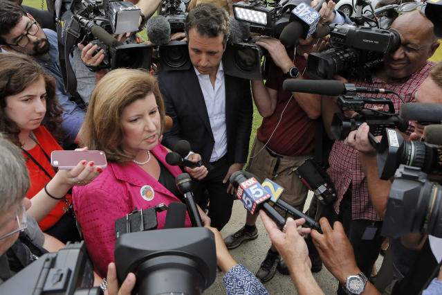 <p>Karen Handel, Republican candidate for Congress, talks to the press Tuesday, June 20, 2017, after she voted in the 6th District Special Election at St Mary's Orthodox Church in Roswell, Ga. (Photo: Bob Andres/Atlanta Journal-Constitution via AP) </p>