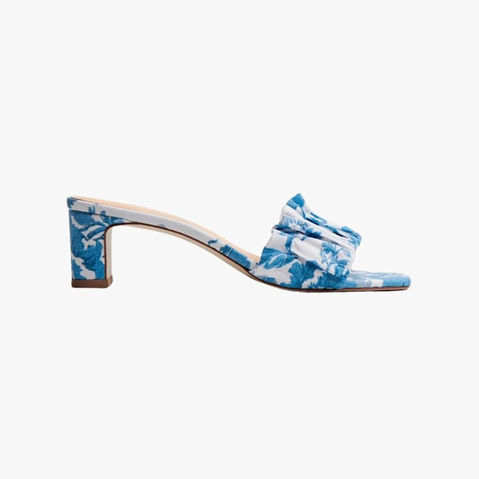"""$248, THE REFORMATION. <a href=""""https://www.thereformation.com/products/shereen-ruched-block-heel-mule"""" rel=""""nofollow noopener"""" target=""""_blank"""" data-ylk=""""slk:Get it now!"""" class=""""link rapid-noclick-resp"""">Get it now!</a>"""