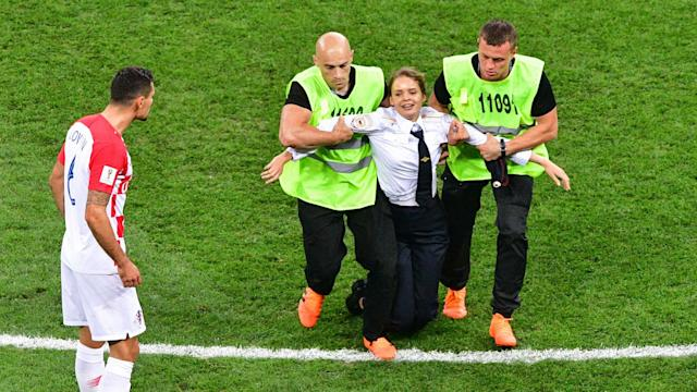 Four members of the punk protest group have been jailed for 15 days following their pitch invasion during France's 4-2 victory over Croatia in Moscow