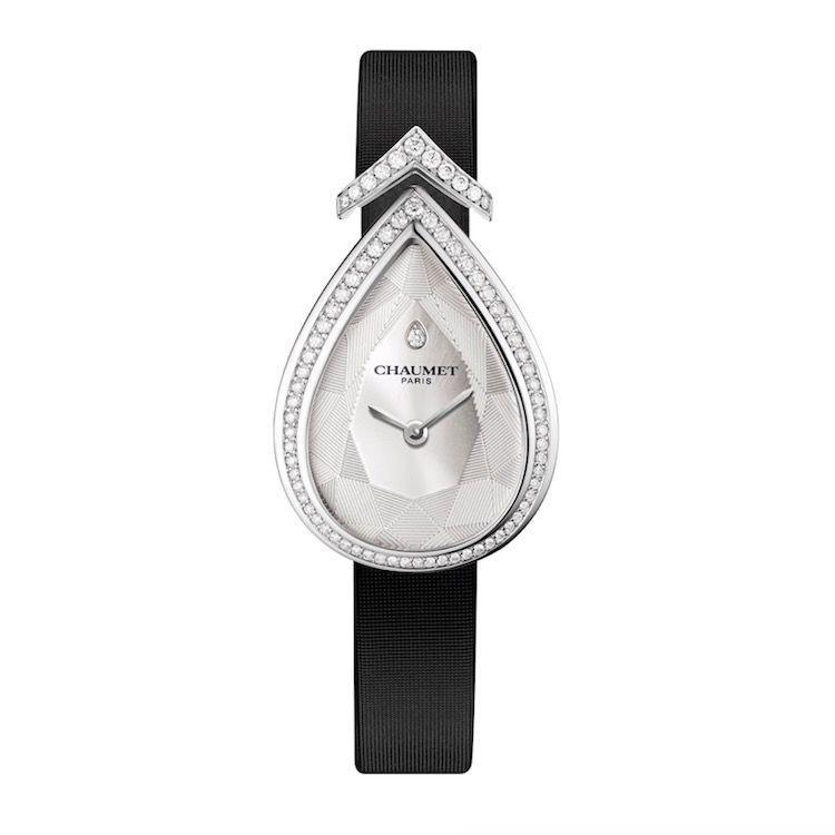 "<p><a class=""link rapid-noclick-resp"" href=""https://www.chaumet.com/en/josephine-aigrette-timepiece-w85165-001m"" rel=""nofollow noopener"" target=""_blank"" data-ylk=""slk:SHOP NOW"">SHOP NOW</a></p><p>With an elegant shape inspired by the pear-cut gems favoured by the Empress Joséphine - one of Chaumet's most famous clients - a white gold case framed with diamonds (there is also a version with a full pavé dial, if you're feeling extra decadent), and a chic black satin strap, this is a jewelled timepiece you'll never want to take off.</p><p>Joséphine Aigrette watch, prices on request, <a href=""https://www.chaumet.com/en/josephine-aigrette-timepiece-w85165-001m"" rel=""nofollow noopener"" target=""_blank"" data-ylk=""slk:Chaumet"" class=""link rapid-noclick-resp"">Chaumet</a></p>"