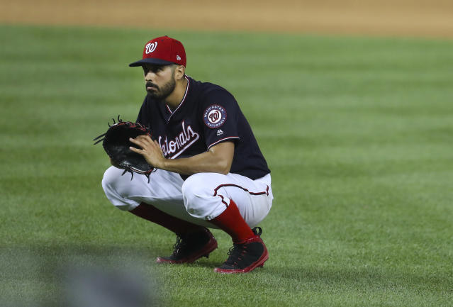 Washington Nationals Gio Gonzalez kneels down after watching New York Yankees' Giancarlo Stanton score on a sacrifice fly hit by Yankees Tyler Austin to tie the score in fifth inning of an interleague baseball game at Nationals Park, Tuesday, May 15, 2018, in Washington. (AP Photo/Pablo Martinez Monsivais)