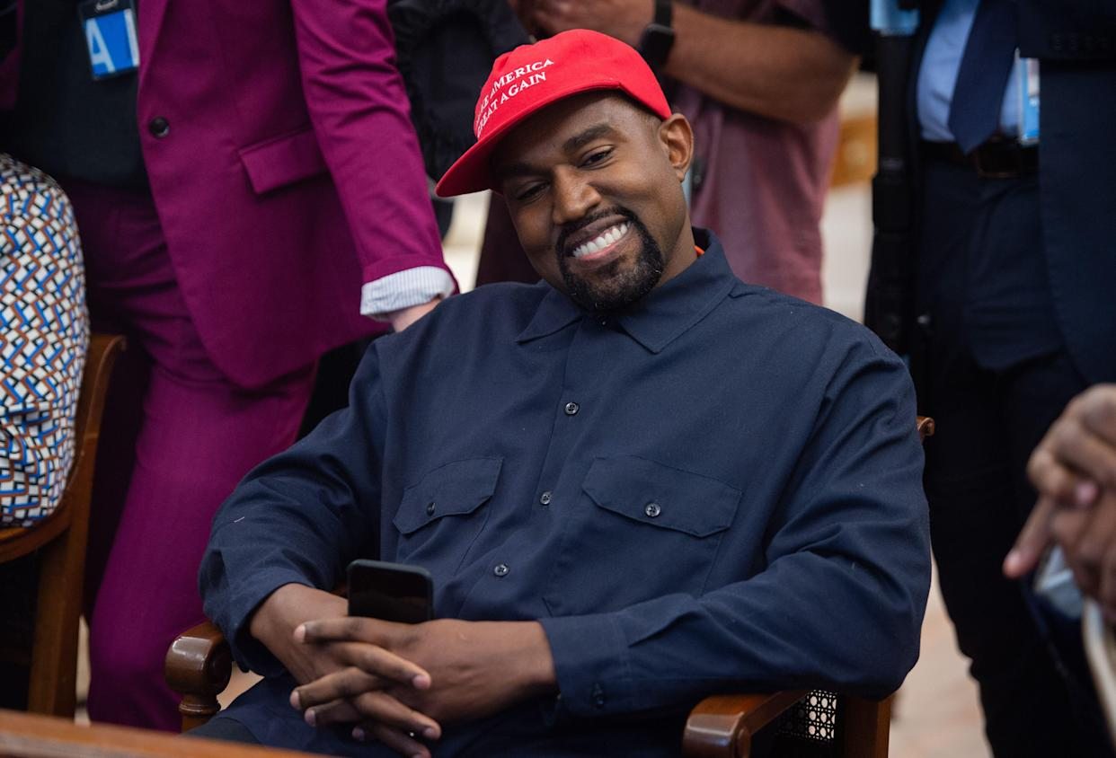 Kanye West during his meeting with President Donald Trump in the Oval Office of the White House on Oct. 11, 2018. (Photo: Saul Loeb/AFP/Getty Images)