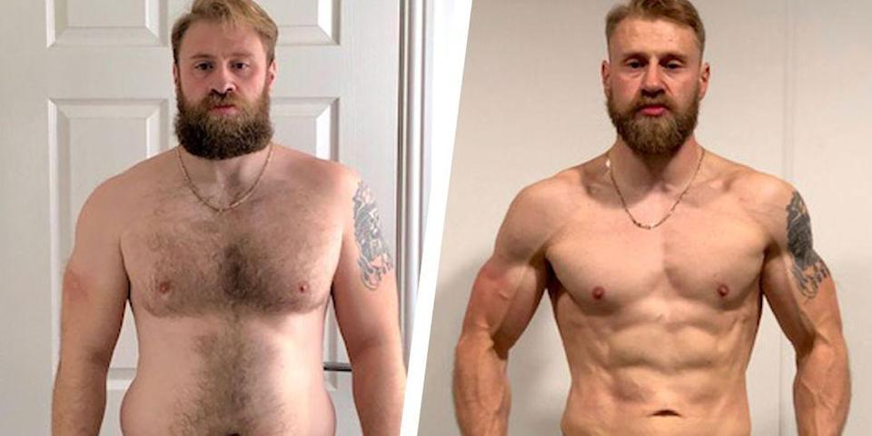 """<p>Chris Anderson grew up eating large portions of pizza, Chinese take-out, and ice cream. Eventually, a sedentary lifestyle made it difficult for him to maintain his weight. By 31, Anderson weighed 224 pounds.</p><p>Frustrated, he changed his diet and worked out. Although, Anderson saw some success he'd regain the weight. </p><p>""""It became a vicious cycle, which was bordering on becoming an <a href=""""https://www.menshealth.com/health/a20733953/male-eating-disorders-muscle-dysmorphia/"""" rel=""""nofollow noopener"""" target=""""_blank"""" data-ylk=""""slk:eating disorder"""" class=""""link rapid-noclick-resp"""">eating disorder</a>,"""" he told <em>Men's Health</em>.</p><p>Anderson once again weighed 224. Through online research, he discovered the <em>UP Encyclopaedia of Personal Training</em>, by <a href=""""https://www.instagram.com/heynickmitchell/"""" rel=""""nofollow noopener"""" target=""""_blank"""" data-ylk=""""slk:Nick Mitchell"""" class=""""link rapid-noclick-resp""""><u>Nick Mitchell</u></a>, founder of Ultimate Performance. This led him to using thee <a href=""""https://ultimateperformance.com/liveup-beach-body-plan-for-men/?MHChris"""" rel=""""nofollow noopener"""" target=""""_blank"""" data-ylk=""""slk:Live UP program"""" class=""""link rapid-noclick-resp""""><u>Live UP program</u></a>, an online training package. </p><p>After 16 weeks, Anderson lost more than 30 pounds and gained an immeasurable amount of confidence. </p><p>""""I've had waiters in restaurants come up to me and ask how I got in the shape I am in,"""" he said.</p><p><a href=""""https://www.menshealth.com/health/a29301657/weight-loss-full-body-workouts-30-pounds-six-pack-transformation/"""" rel=""""nofollow noopener"""" target=""""_blank"""" data-ylk=""""slk:Read more about Chris' transformation"""" class=""""link rapid-noclick-resp"""">Read more about Chris' transformation</a>. </p>"""