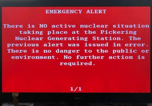 PHOTO: An emergency alert issued by the Canadian province of Ontario reporting an unspecified 'incident'€ at a nuclear plant is shown on a smartphone, Jan. 12, 2020. Ontario Power Generation later sent a message saying the alert 'was sent in error.' (Robert Gillies/AP)