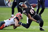 <p>Baltimore Ravens wide receiver Steve Smith (89) reacts to being tackled after a catch by Cincinnati Bengals safety Clayton Fejedelem (42) at M&T Bank Stadium. Mandatory Credit: Mitch Stringer-USA TODAY Sports </p>