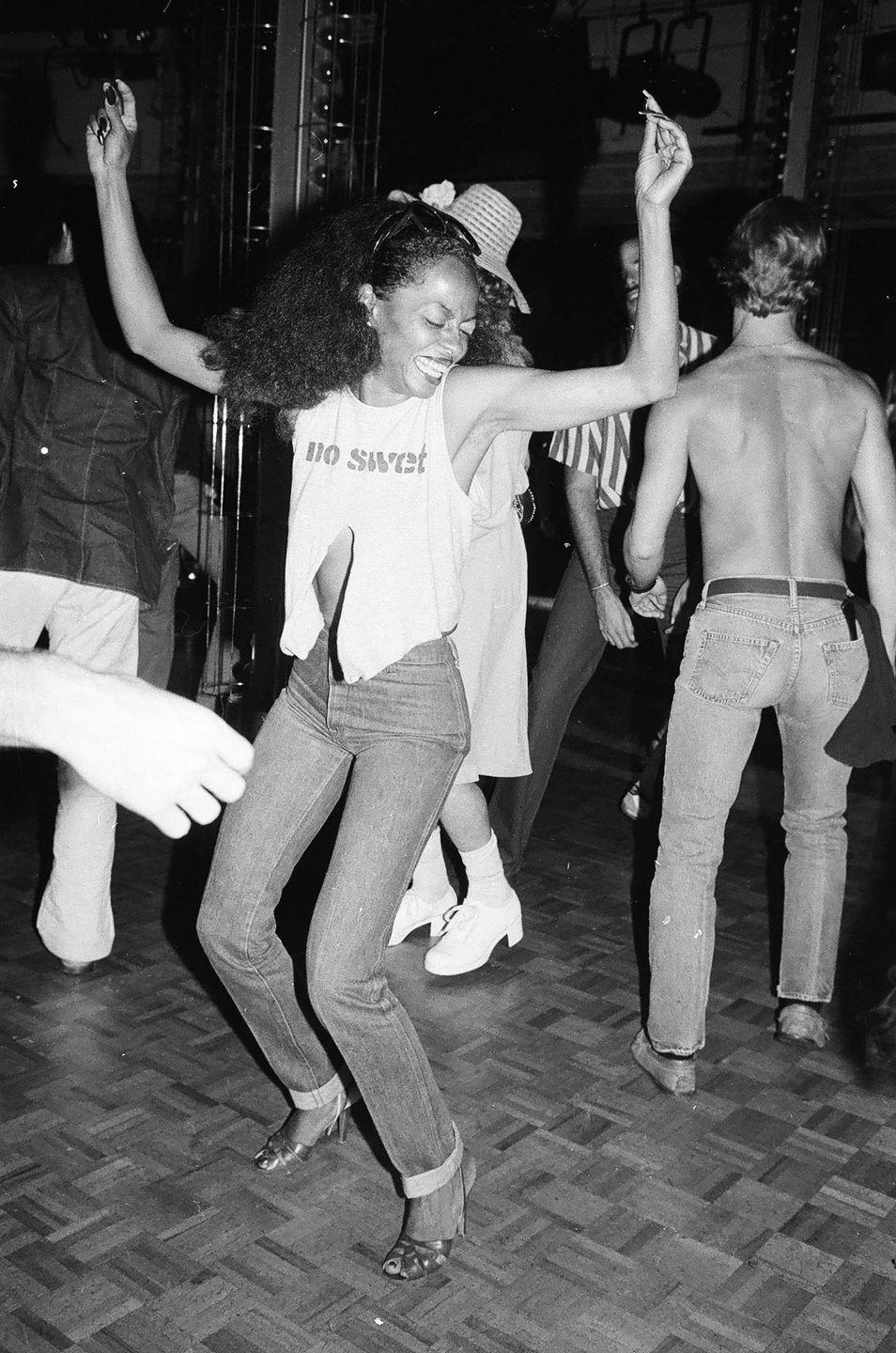 <p>Diana Ross dancing at Studio 54 in New York City, 1979.</p>