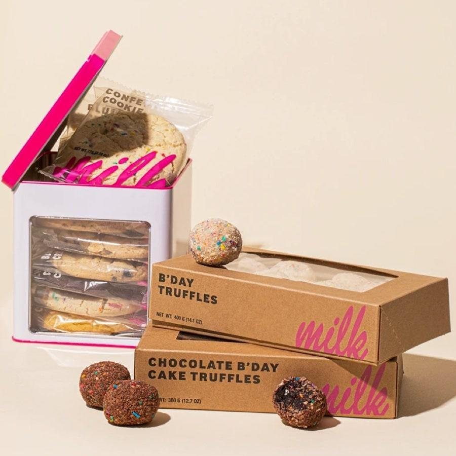 "Now is no time to deny a raging sweet tooth. Make your girl's day with this divine package of Milk Bar's famous Birthday Truffles and an assorted cookie tin and she'll love you forever. $65, Milk Bar. <a href=""https://milkbarstore.com/collections/gift-shop/products/sweet-nothings-gift-set"" rel=""nofollow noopener"" target=""_blank"" data-ylk=""slk:Get it now!"" class=""link rapid-noclick-resp"">Get it now!</a>"