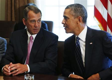 Speaker of the House Boehner talks to U.S. President Obama at a meeting with bipartisan Congressional leaders in Washington