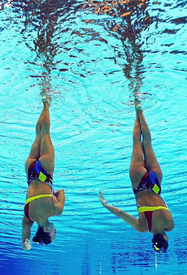 Gagnon Boudreau and Elise Marcotte of Canada compete in the Women's Duets Synchronised Swimming Free Routine Preliminary on Day 10 of the London 2012 Olympic Games at the Aquatics Centre on August 6, 2012 in London, England. (Photo by Clive Rose/Getty Images)