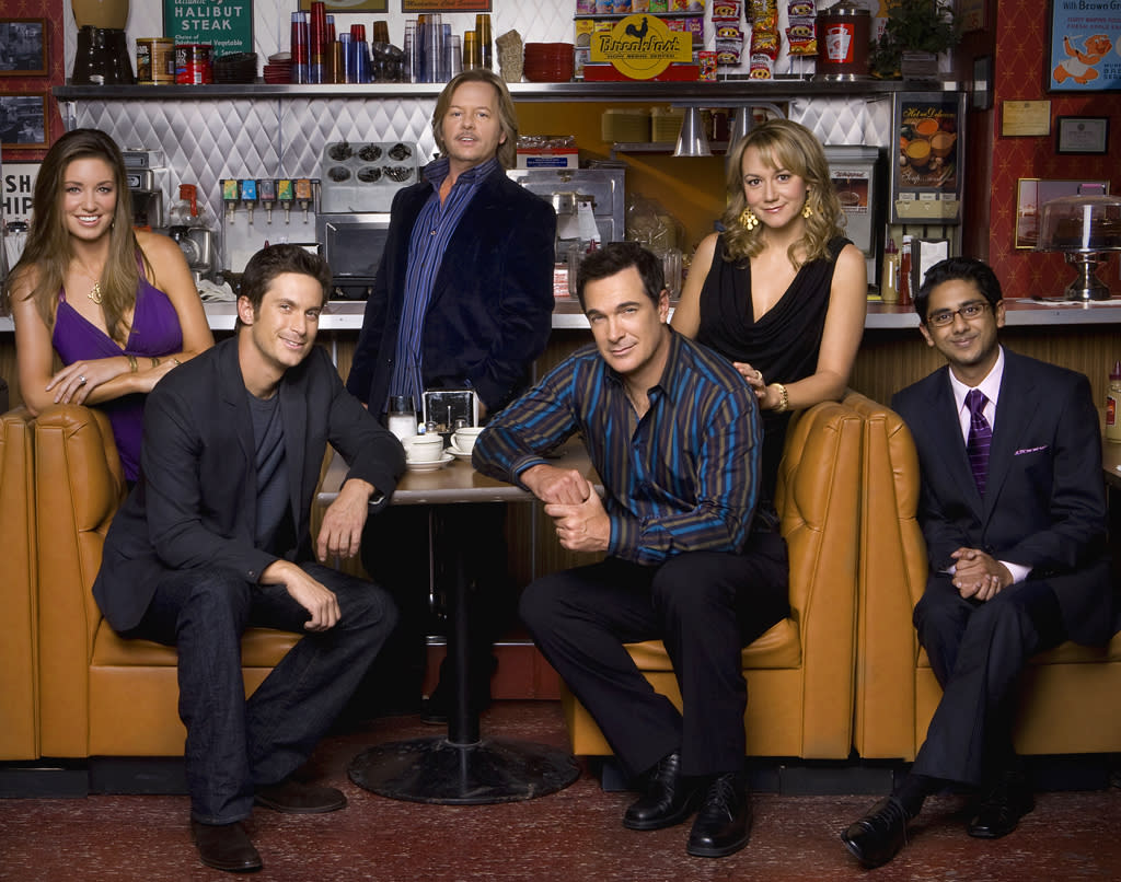 """<b>""""Rules of Engagement""""</b> (CBS)<br>Thursdays at 8:30 PM<br><br><b>The Good News</b>: Despite CBS' erratic scheduling for the show during each of its six seasons, it brings in a consistent audience. This season, it's averaging 10.2 million viewers thanks to its """"Big Bang"""" lead-in.<br><b><br>The Bad News:</b> It's the network's lowest-rated comedy. After six seasons, CBS will probably be more keen to look at fresh comedy ideas."""