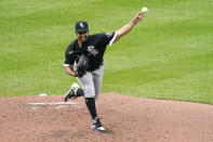 Chicago White Sox starting pitcher Gio Gonzalez throws during the second inning of the team's baseball game against the Kansas City Royals on Saturday, Aug. 1, 2020, in Kansas City, Mo. (AP Photo/Charlie Riedel)