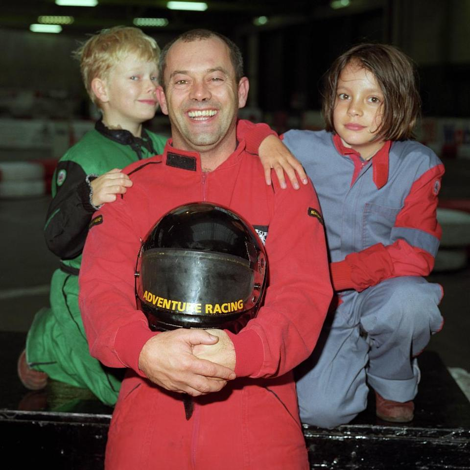 Keith Allen at the karting raceway in Clapham, south London, flanked by his daughter Lily and son Alfie on the TV show Time Out With … Keith Allen in 1994.