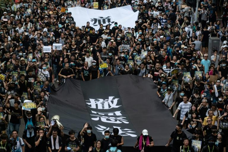 Large crowds marched once again through Hong Kong's streets