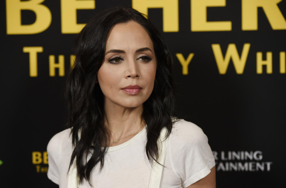FILE - In this April 5, 2016 file photo, actress Eliza Dushku poses at the premiere of the film