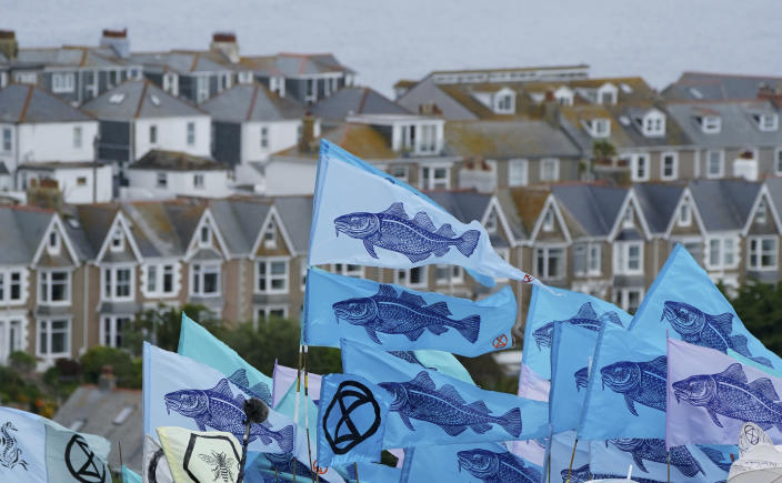 Protestors wave flags during a demonstration near the G7 meeting taking place in St. Ives, Cornwall, England, Friday, June 11, 2021. Leaders of the G7 begin their first of three days of meetings on Friday in Carbis Bay, in which they will discuss COVID-19, climate, foreign policy and the economy. (AP Photo/Jon Super)