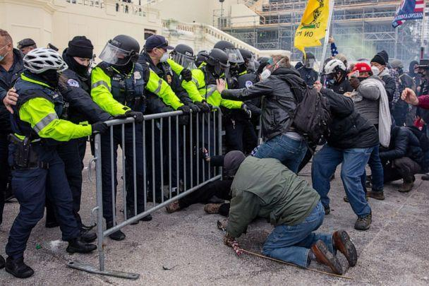 PHOTO: Trump supporters clash with police during the tally of electoral votes that that would certify Joe Biden as the winner of the U.S. presidential election outside the U.S. Capitol in Washington, D.C., Jan. 6, 2021. (The Washington Post via Getty Images, FILE)