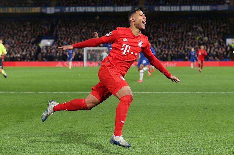 LONDON, ENGLAND - FEBRUARY 25: Serge Gnabry of Bayern celebrates scoring their 2nd goal during the UEFA Champions League round of 16 first leg match between Chelsea FC and FC Bayern Muenchen at Stamford Bridge on February 25, 2020 in London, United Kingdom. (Photo by Charlotte Wilson/Offside/Offside via Getty Images)