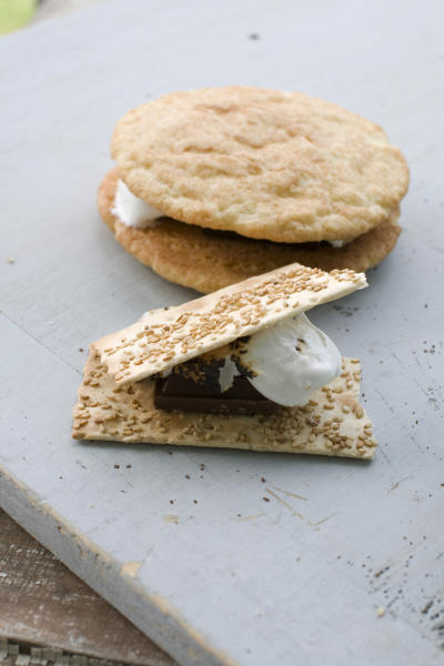 In this image taken on April 29, 2013, front, a sesame caramel s'more, and back, a toasted mocha s'more are shown in Concord, N.H. (AP Photo/Matthew Mead)