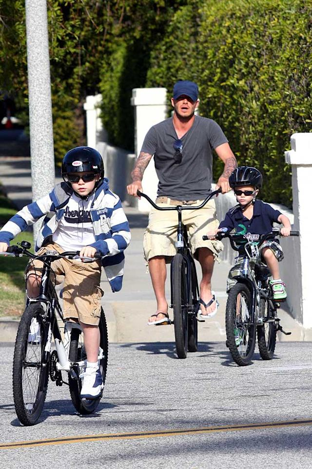 "British soccer stud David Beckham spends some quality time with his sons Brooklyn (8) and Romeo (5) biking in Beverly Hills. Ginsburg-Spaly/<a href=""http://www.x17online.com"" target=""new"">X17 Online</a> - February 10, 2008"