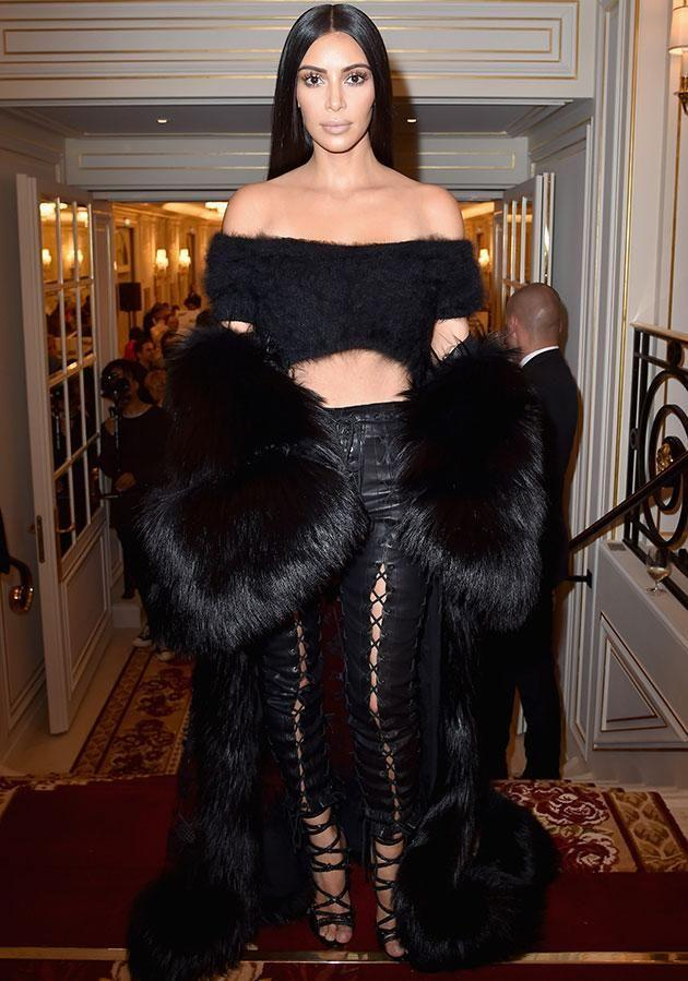 Kim Kardashian was spotted in Unravel Project at the Buro 24/7 Fashion Forward Initiative in Paris in September. (Photo: Getty Images)