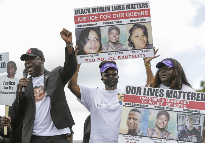 """Attorney Benjamin Crump talks to a crowd of supporters during a """"Justice for Pamela Turner"""" rally on the two-year-anniversary of Turner's death, Thursday, May 13, 2021, in Baytown, Texas. Turner was fatally shot in 2019 by a police officer in the Houston suburb after a struggle over his stun gun. (Godofredo A. Vásquez/Houston Chronicle via AP)"""