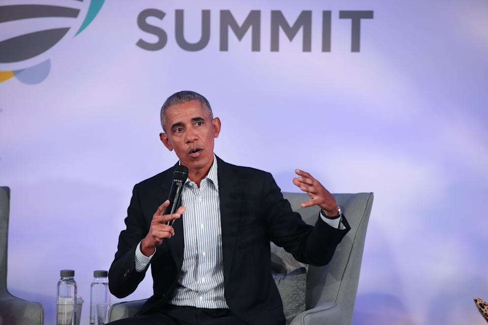 CHICAGO, ILLINOIS - OCTOBER 29: Former U.S. President Barack Obama speaks to guests at the Obama Foundation Summit on the campus of the Illinois Institute of Technology on October 29, 2019 in Chicago, Illinois. The Summit is an annual event hosted by the Obama Foundation. (Photo by Scott Olson/Getty Images)