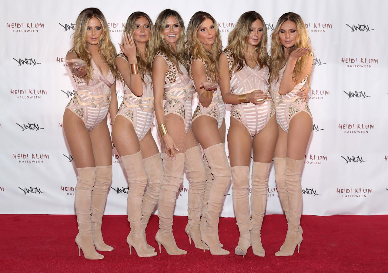 <p>In 2016, Heidi duplicated herself and turned up to her party with five identical 'Heidis'. [Photo: Getty] </p>
