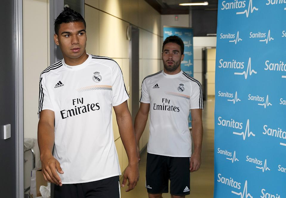 MADRID, SPAIN - JULY 15: Casemiro (L) and Daiel Carvajal of Real Madrid attend the team medical before a training session at Valdebebas training ground on July 15, 2013 in Madrid, Spain.  (Photo by Angel Martinez/Real Madrid via Getty Images)