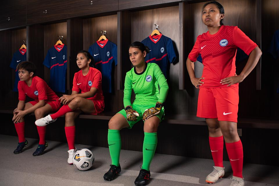 The Singapore national women's football team with the new team kit. (PHOTO: Football Association of Singapore)