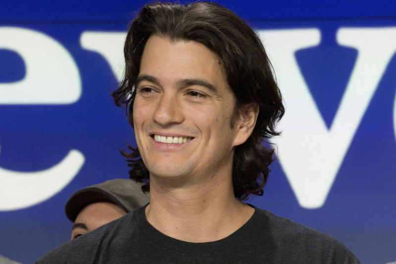 FILE - In this Jan. 16, 2018 file photo, Adam Neumann, co-founder and CEO of WeWork, attends the opening bell ceremony at Nasdaq, in New York. The Wall Street Journal, citing sources it did not identify, reported Tuesday, Oct. 22, 2019, Neumann will walk away with close to $2 billion from Japan's SoftBank Group if he severs ties with the company. (AP Photo/Mark Lennihan, File)